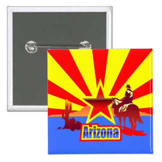 Arizona State Flag Vintage Drawing 15 Cm Square Badge