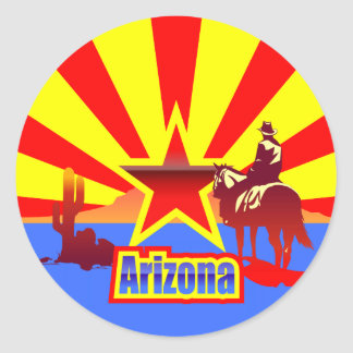 Arizona State Flag Vintage Drawing Classic Round Sticker