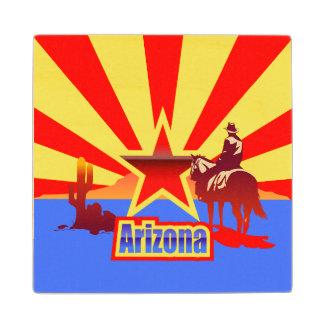 Arizona State Flag Vintage Illustration Maple Wood Coaster