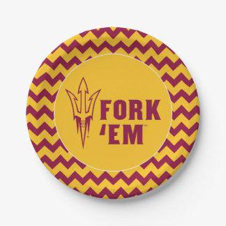 Arizona State Fork 'Em 7 Inch Paper Plate