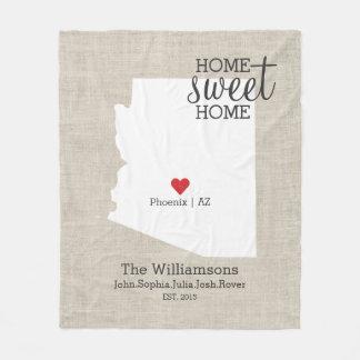 Arizona State Love Home Sweet Home Custom Map Fleece Blanket