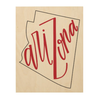 Arizona | State Typography Design Wood Canvases