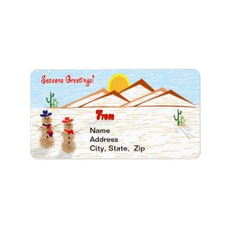 Arizona Tumbleweed Snowman Christmas Label