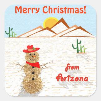 Arizona Tumbleweed Snowman Square Square Sticker