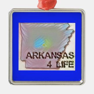 """""""Arkansas 4 Life"""" State Map Pride Design Metal Ornament"""