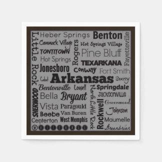 Arkansas cities typography napkins disposable napkins