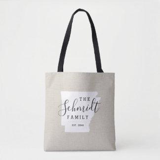 Arkansas Family Monogram State Tote Bag