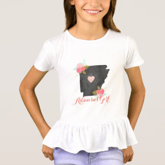 Arkansas Girl Watercolor Floral & Moveable Heart T-Shirt