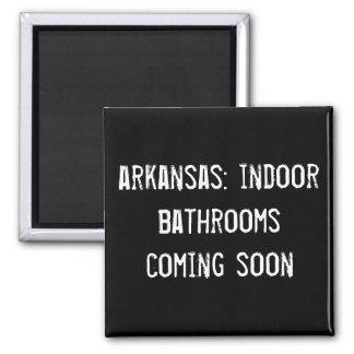 arkansas: indoor bathrooms coming soon! square magnet
