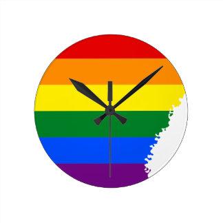 Arkansas LGBT Flag Map Round Clock