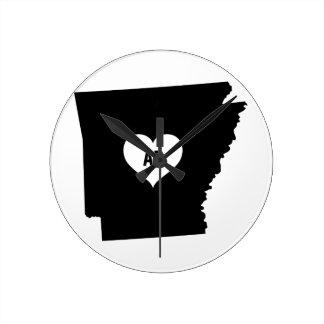 Arkansas Love Round Clock