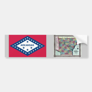 Arkansas Map and State Flag Bumper Stickers