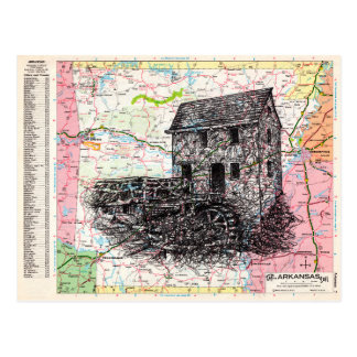 Arkansas Map Art Postcard