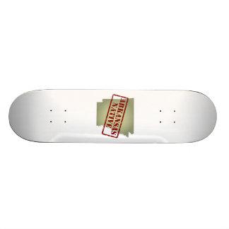 Arkansas Native Stamped on Map Skateboard Decks