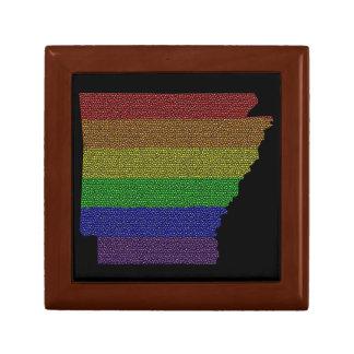 Arkansas Rainbow Pride Flag Mosaic Small Square Gift Box