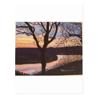 Arkansas River Sunset Painting Postcard