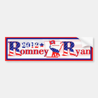 Arkansas Romney and Ryan 2012 Bumper Sticker 3 Car Bumper Sticker