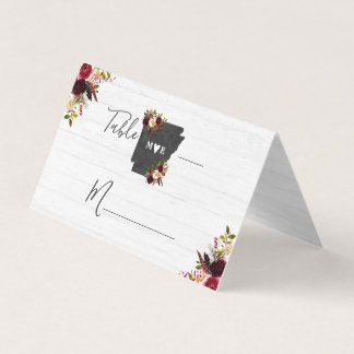 Arkansas State Destination Rustic Table Number Place Card