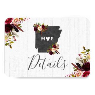 Arkansas State Destination Rustic Wedding Details Card