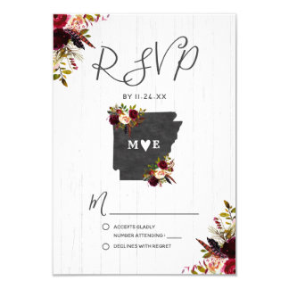 Arkansas State Destination Rustic Wedding RSVP Card