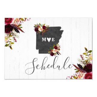 Arkansas State Destination Rustic Wedding Schedule Card