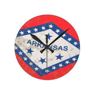 Arkansas State Flag Grunge Round Clock