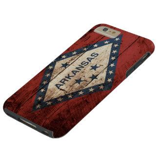 Arkansas State Flag on Old Wood Grain Tough iPhone 6 Plus Case