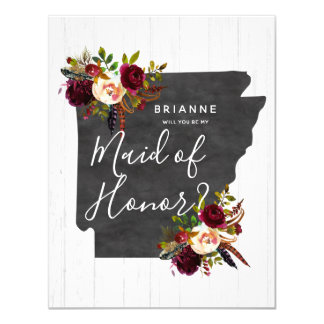 Arkansas State Floral Will You Be My Maid of Honor Card