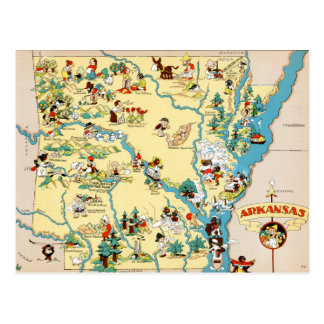 Arkansas Vintage Cartoon Map Postcard
