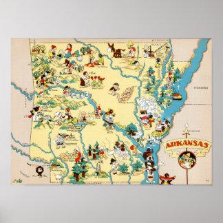 Arkansas Vintage Map Poster