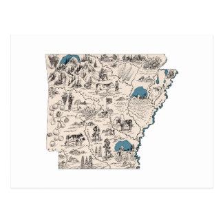 Arkansas Vintage Picture Map Postcard