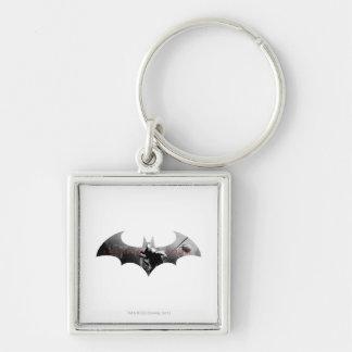 Arkham City Bat Symbol Silver-Colored Square Key Ring