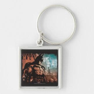 Arkham City Batman mixed media Silver-Colored Square Key Ring