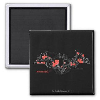 Arkham City Diagram Square Magnet