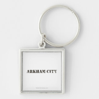 Arkham City Distressed Silver-Colored Square Key Ring