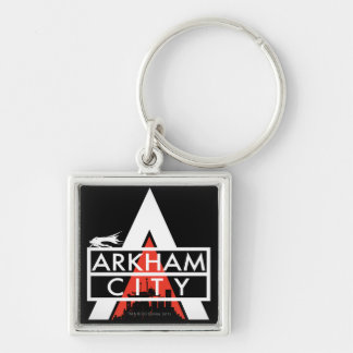 Arkham City Logo White Silver-Colored Square Key Ring