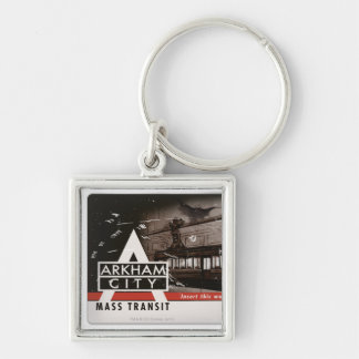 Arkham City Mass Transit Pass Silver-Colored Square Key Ring