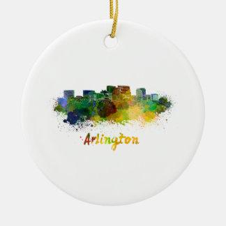 Arlington skyline in watercolor ceramic ornament