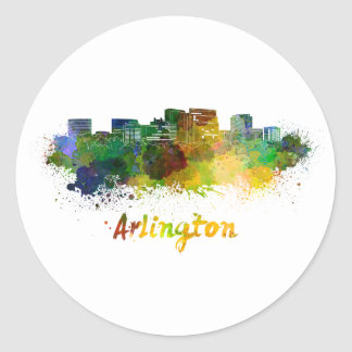Arlington skyline in watercolor classic round sticker