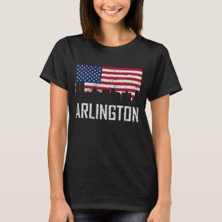 Arlington Texas Skyline American Flag Distressed T-Shirt