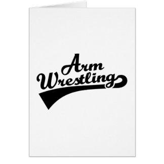 Arm wrestling greeting card