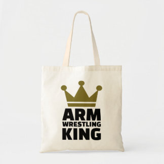 Arm wrestling king budget tote bag