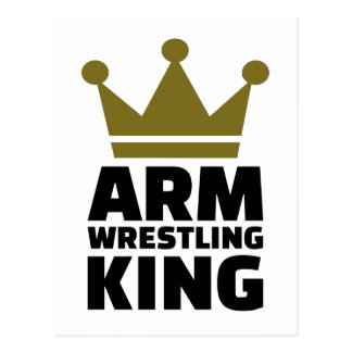 Arm wrestling king postcard