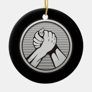 Arm wrestling Silver Ceramic Ornament