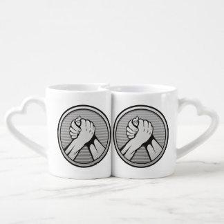 Arm wrestling Silver Coffee Mug Set