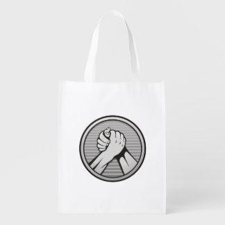 Arm wrestling Silver Reusable Grocery Bag