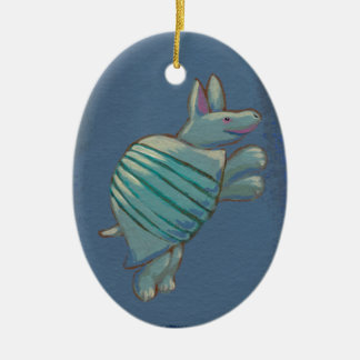 Armadillo art fun inspirational confident cute ceramic ornament