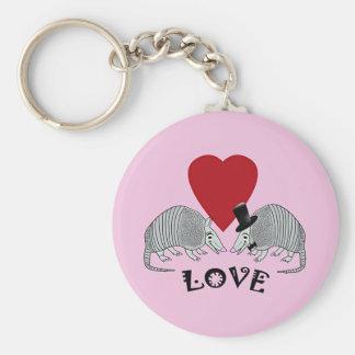 Armadillo Heart Love Pink Key Ring