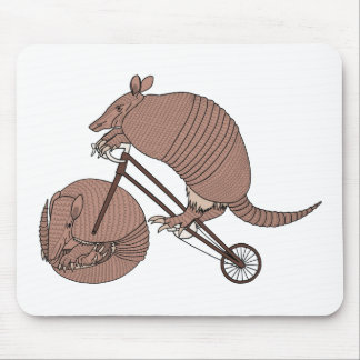 Armadillo Riding Bike With Armadillo Wheel Mouse Pad