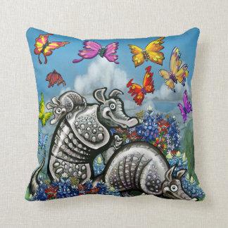 Armadillos Bluebonnets Butterflies Wildflowers Cushion